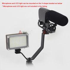 Cold Shoe V Mount Dual Bracket fr Camera LED Light Microphone Hot shoe Hotshoe