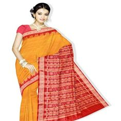 UNM2616 - Gorgeous glorious sunset yellow orissa handloom pure silk ikkat tie saree without blouse
