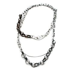 Grey and black chain necklace, oxidized silver, copper, stone beads by Karen Gilbert. Gallery Lulo.