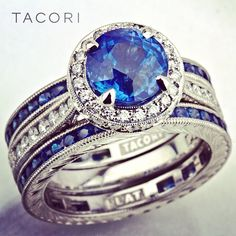 Tacori engagement ring and wedding bands with diamonds & sapphires... Spectacular!