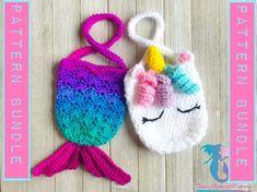 crochet purses patterns Mermaid and Unicorn Purse Pattern Bundle - Crochet Gifts, Cute Crochet, Crochet For Kids, Knit Crochet, Crochet Handbags, Crochet Purses, Crochet Dolls, Crochet Bags, Mermaid Purse