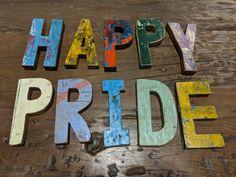 Happy Pride 💜💙💚💛🧡❤️ #pride🌈 #pride #loveislove #cahaya #boatwoodletters #reclaimedwood #Zenporium #guiltfreewood Wood Letters, Recycling, Pride, Woodworking, Boat, Rustic, Logos, Happy, Accessories