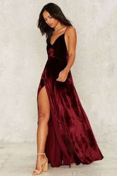 Lestly Velvet Maxi Slit Dress | Shop Elettra |