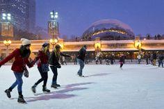 Me patinar sobre hielo con mis primos en la ciudad .