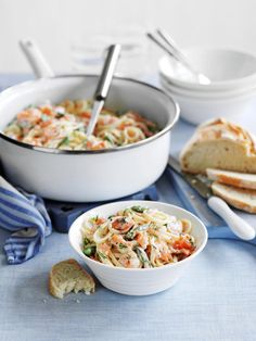 Linguine with smoked salmon and prawns – License high-quality food images for your projects – Rights managed and royalty free – 11234972 Linguine, Fish Recipes, Pasta Recipes, Hello Fresh Recipes, Vegetarian Recipes, Healthy Recipes, Eat Smarter, Food For Thought, Italian Recipes