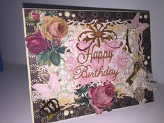 Shabby chic Victorian vintage birthday card using  Spellbinders S5-148 Nestabilities Decorative Labels Eight Die Templates, Anna Griffin flourish and DCWV Butterfly Garden paper pad
