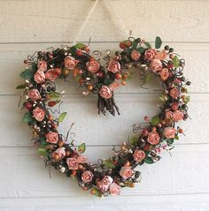 peach colored shabby chic things | Wreath Heart Rose Peach Shabby Chic by laurelsbylaurie on Etsy