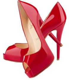 Christian Louboutin Very Prive red patent peep toe pumps