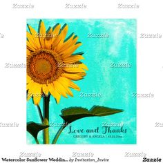 Watercolor Sunflower Wedding Love And Thanks Wine Label Personalize this beautiful custom designed wedding love and thanks wine bottle label. This beautiful wine bottle label features nature landscape photography of a beautiful summer sunflower with a blue - green watercolor background. Photographed at the Forks Of The River Wildlife Management Area in one of the many fields of flowers there. Matching products are available in my shop.