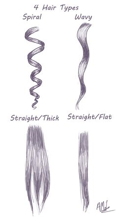 4 Hair Types: Here is a quick tutorial for drawing 4 hair types. #drawingtips