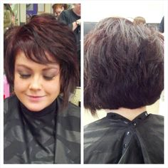Cute asymmetric hairstyle with redbrown