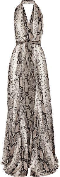 LANVIN Python-print Silk Halterneck Gown  dressmesweetiedarling