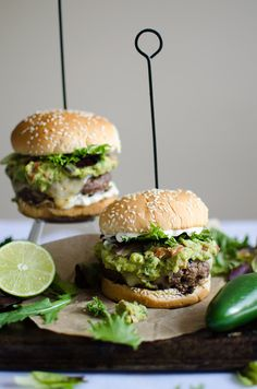 soft guacamole and the seared beef patty, held together by toasty buns with jalapeno mayo, are simply divine.The soft guacamole and the seared beef patty, held together by toasty buns with jalapeno mayo, are simply divine. Gourmet Burgers, Beef Burgers, Burger Recipes, Beef Recipes, Cooking Recipes, Healthy Recipes, Veggie Burgers, Fast Recipes, Yummy Recipes