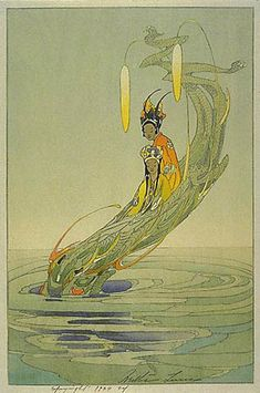 hanga gallery . . . torii gallery: The Dragon King and his Bride by Bertha Lum