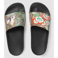 Gucci Women'S Gucci Tian Slide Sandal ($225) ❤ liked on Polyvore featuring shoes, sandals, gucci, beige sandals, slide sandals, floral flat shoes, flat sandals and floral canvas shoes