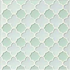 Sea Mist Flower White & Green Glossy Glass Tile