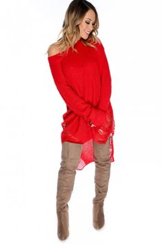 Sexy Red Semi-Sheer Bateau Neckline Long Sleeve High-Low Hem Distress Detail Sweater Dress