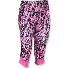 Under Armour Fly By Printed Capri Pants ($55) ❤ liked on Polyvore featuring under armour