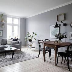 Beautiful grey apartment with visible wooden beams