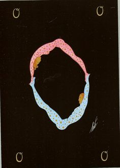 """Limited Edition 1975 Vintage Art Deco Erte  Print  """"The Alphabet"""" Letter """"O"""" Male And Female Acrobats Pink Costume Blue Costume"""