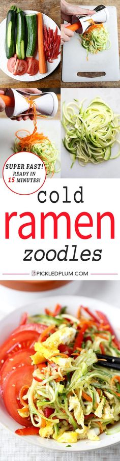 Cold Ramen Zoodles - This is a noodle-free take on the classic Japanese hiyashi chuka dish. Light & low in calories, these cold ramen zoodles made with zucchini, carrots & cucumber, are tangy, cleansing & incredibly refreshing! Recipe, easy, salad, ramen, zoodles, spiralizer, healthy | pickledplum.com