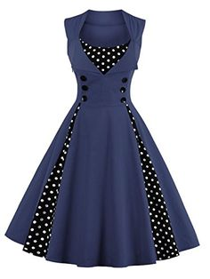 Women Robe Retro Vintage Dress Rockabilly Dot Swing Pin Up Summer Party Dresses Elegant Tunic Vestidos Casual Size S Color Sky blue Robes Vintage, Retro Vintage Dresses, Vestidos Vintage, Retro Dress, Vintage Clothing, Vintage Outfits, Vintage Fashion, Vintage Prom, Women's Clothing