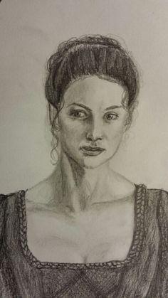 "A sketch of ""Claire"". Outlander Fan Art, Outlander Book Series, Starz Series, Diana Gabaldon Books, Dragonfly In Amber, Caitriona Balfe, Jamie Fraser, Sam Heughan, Books"