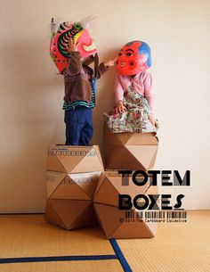 Cardboard Totem Boxes pattern and video by The Cardboard Collective, $12.00