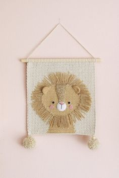 Wall hanging – Wall decor – Crochet decor – Nursery wall decor – Nursery wall hanging – Crochet lion – Crochet wall decor – Kids room decor - decorating a new home Crochet Lion, Crochet Home, Crochet For Kids, Diy Crochet, Nursery Wall Decor, Baby Decor, Nursery Room, Room Decor, Lion Nursery