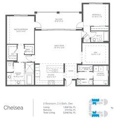Chelsea Model 2 Bed, 2.5 Bath Floor Plan 2,046 Square Feet Scott Pearson Naples, FL Gulf Coast International Properties