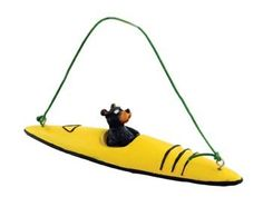 Bear Kayaking Kayak Figure Collectible Ornament 4inch Tree Decoration Yellow or Red Color *** Find out more about the great product at the image link.