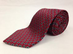 CHRISTIAN DIOR MONSIEUR 57L Mens Neck Tie Red Blue Paisley 100% Silk Made in USA #ChristianDior #NeckTies #Ties