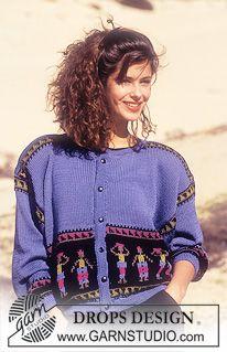 "DROPS jacket with pattern borders in ""Muskat"". ~ DROPS Design"