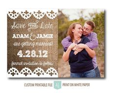 Printable wedding save the date with customization! Colors shown are examples only and any colors can be matched. Click through to see other sample colors or matching invites, thank you cards, and more. Purchase just the save the date or purchase a combin