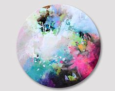 Original abstract painting, circular abstract artwork, acrylic colorful round canvas, round work of art, applegreen turquoise fuchsia Circle Canvas, Round Canvas, Malm, Simple Art, Bunt, Original Paintings, Art Paintings, Creative, Abstract Art
