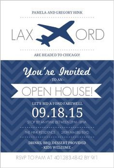 Navy White Jet Plane Modern Farewell Open House Invite