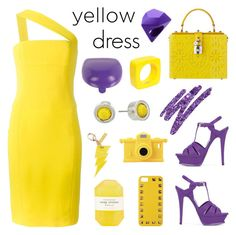 """In La La Land: Yellow Dresses"" by deepwinter ❤ liked on Polyvore featuring Pelle, Yves Saint Laurent, Urban Decay, Peroni, Marc by Marc Jacobs, Moschino, Valentino, Edie Parker, Dsquared2 and yellowdress"
