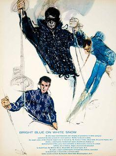 1961 Ad Vintage Ski Clothing Parka Jacket Wool Pullover Sweater Skiers Skiing Ski Fashion, Mens Fashion, Pullover Sweaters, Men Sweater, Vintage Outfits, Vintage Fashion, Ski Posters, Vintage Ski, Print Ads