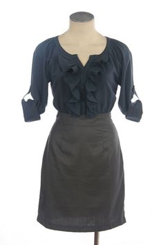 Navy/grey ruffle dress.  Besides grey and yellow, navy and grey might be my favorite color combo.