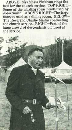 The Reverend Charlie Maitai conducting the church service. - Gisborne Photo News - No 227 May 1973 Descendants Pictures, Large Crowd, John Smith, The Rev, Newspaper, Reading, Vintage, Word Reading, The Reader