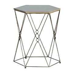 gabby home hutchens side table - We love the visual activity that this eglomise mirror and wire-wrought hexagonal table brings to a room. But even better together, this bunching table makes a stunning coffee table in groups of two or more. This mirror accent table reflects ample light and the thin gold frame adds sparkle in transitional style.     Materials: Iron