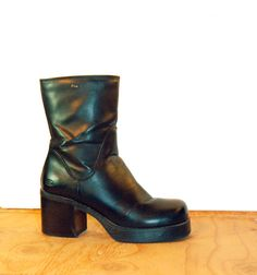 90s Black Chunky Platform Ankle Boots Womens Size 8 by by Idlized