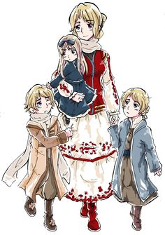 """APH: Mother Dear by fir3h34rt.deviantart.com on @deviantART - From the artist's comments: """"Eastern Europe family! Little Ivan, Natalia and Katyuska with their mother, Ruthenia. I believe she was killed by Mongolia...but don't quote me on that."""""""