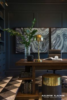 Masculine home office paint ideas! We recommend a deep blue paint and classic black-and-white marble floors. It's a handsome combination that any Father would love. For more pictures of this masculine home office, visit: https://alicelanehome.com/portfolio/french-moderne-manor/   French Moderne Manor Designed by Alice Lane