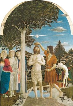 Piero della Francesca, Bautismo de Cristo, tempera sobre madera, 1440 - 1445. Quatrocentro. Escuela Florentina.