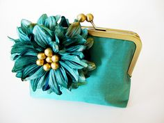 Tiffany Blue Silk Clutch with Teal Chrysanthemum Blossom