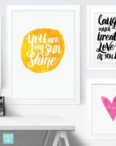 You Are My Sunshine Nursery Decor. Love Print. by raincityprints