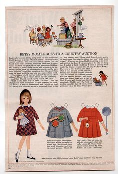 Vintage Betsy McCall GOES TO A COUNTRY AUCTION Paper Dolls 1965 uncut | eBay