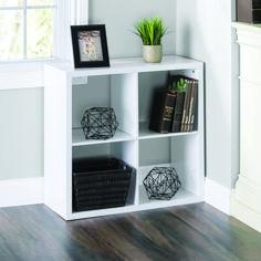 Home Basics 4 Open Cube Organizing Wood Storage Shelf, White White One Size Wood Storage Shelves, Fabric Storage Bins, Cube Shelves, Tv Shelf, Shelving Units, Small Bookshelf, Cube Bookcase, Modern Bookshelf, Bookcases