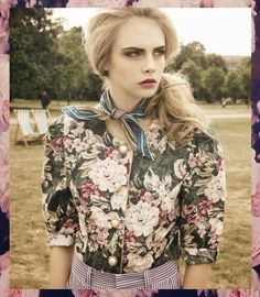 See all trends in my blog: http://www.fashiondupes.com/2013/10/15-fall-fashion-trends-with-cara.html #trend #cara #caradelevingne #delevingne #fashion  #flowers #girly #blonde
